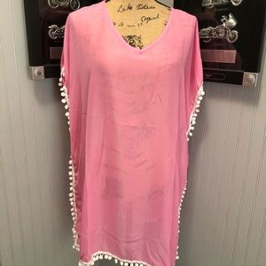 Adorable Pink Beach Coverup With Pom Poms